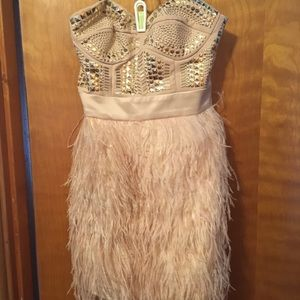 bebe Dresses - Feather Dress!